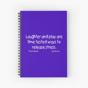 Spiral notebook with blue cover and white text.