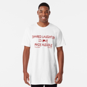 White t-shirt with red lettering
