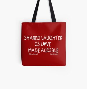 Red Share Laughter Tote Bar with black handle